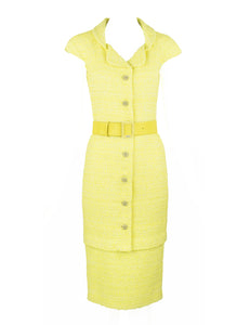 Chanel Yellow Tweed Pencil Dress - Size FR 36