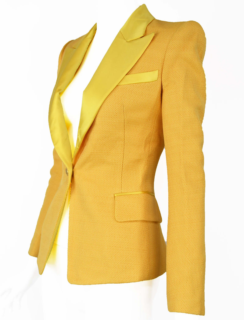 Balmain Yellow Pique Blazer with Satin Collar