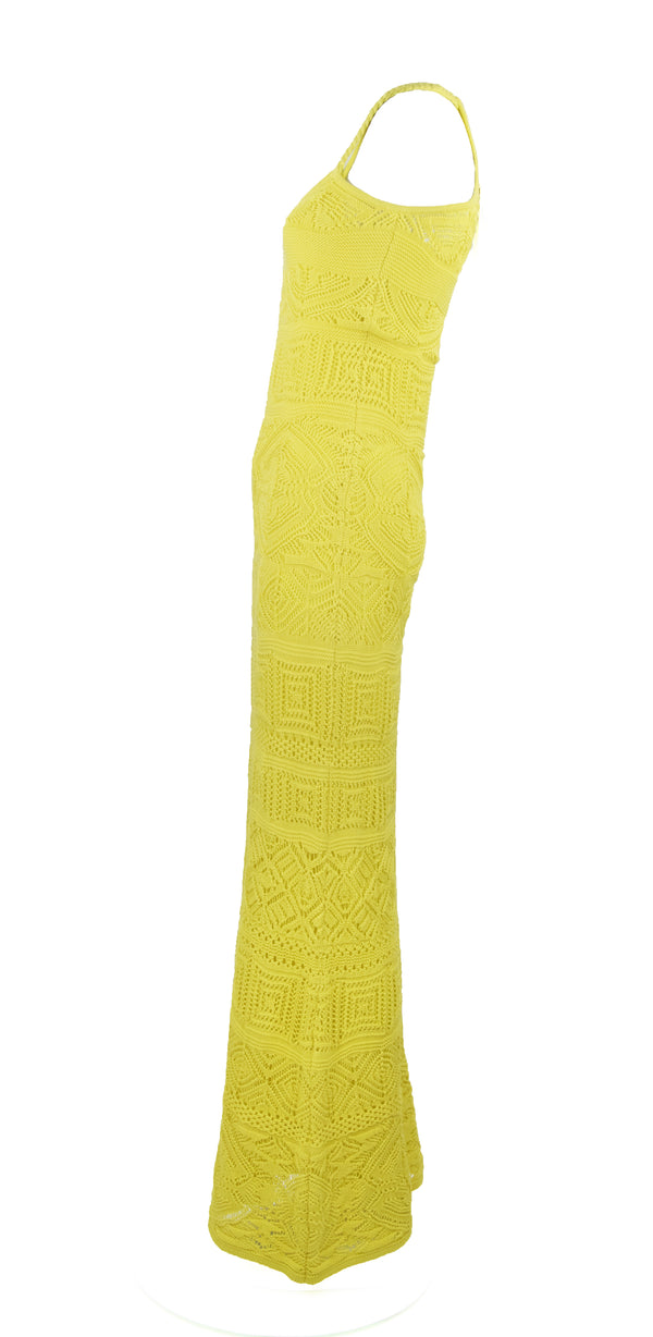 Pucci Bright Yellow Crochet Maxi Dress
