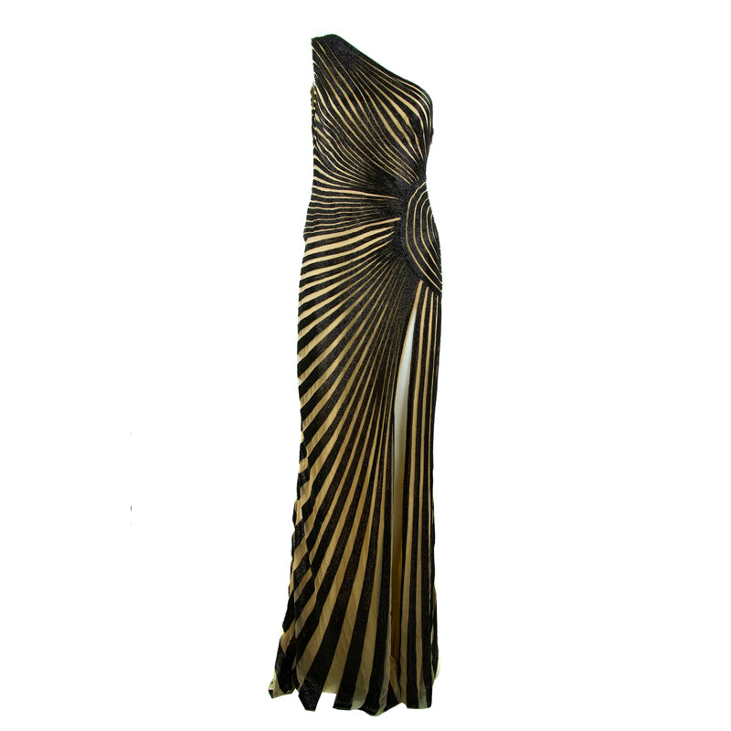 Zuhair Murad Nude & Black Beaded One Shoulder Gown