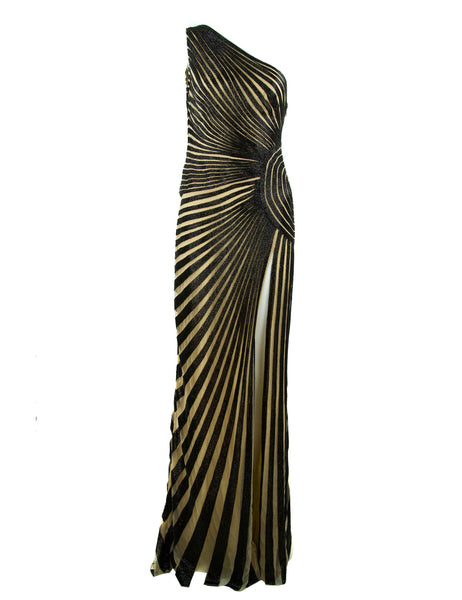 Zuhair Murad Nude & Black Beaded One Shoulder Gown - Size FR 42