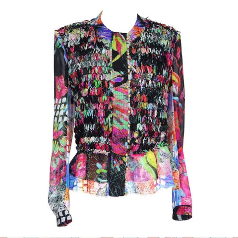 Roberto Cavalli Top Blouse Intricate Ribbon Beautiful Vivid Color 44 / 10 fits 8