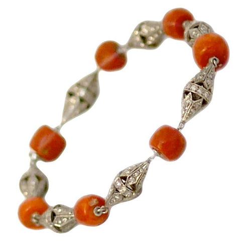 Art Deco Coral Bead and Diamond Bracelet