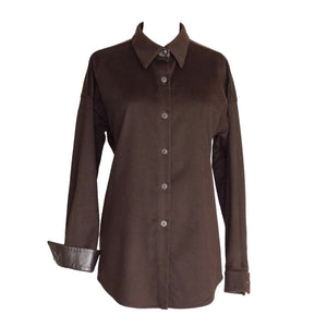 Agnona Shirt Cashmere and Leather Details Rich Chocolate Brown 46