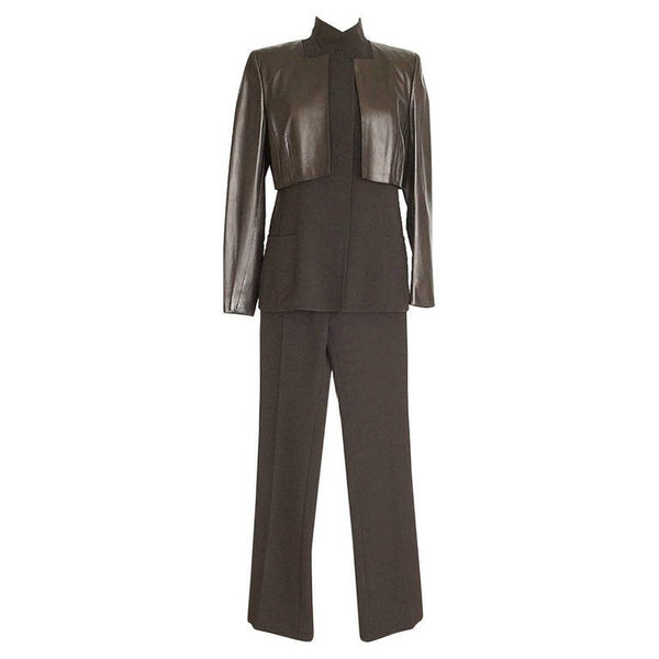 Akris Pant Suit Three (3) Piece Long Vest Supple Leather Bolero Jacket 10