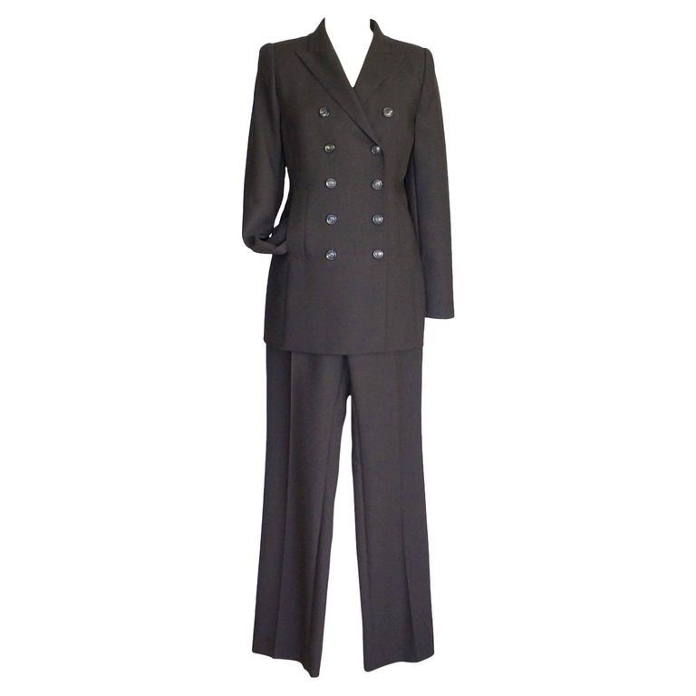 AKRIS Pant Suit Double Breast Dark Brown 10 New