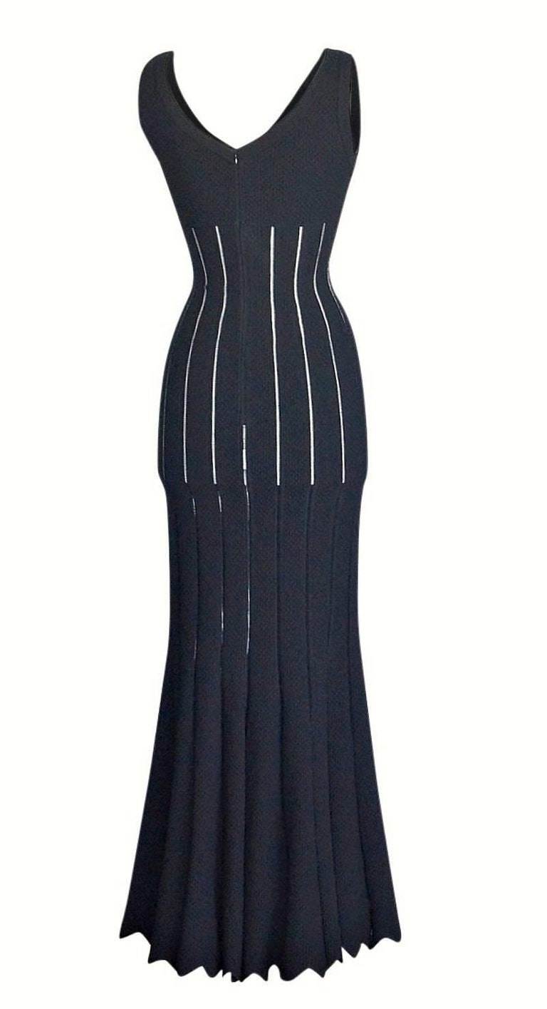 Azzedine Alaia Dress Black Exquisite Shape and Knit Full Length 38 / 6 New