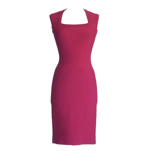Azzedine Alaia Dress Knit Rich Raspberry Pink Lovely Subtle Detail 38 / 4 NW
