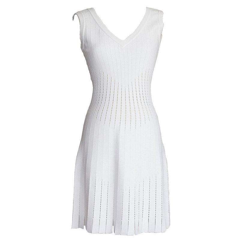 Azzedine Alaia Dress White Perforated Detail Small Car Wash Hem 40 / 6 New