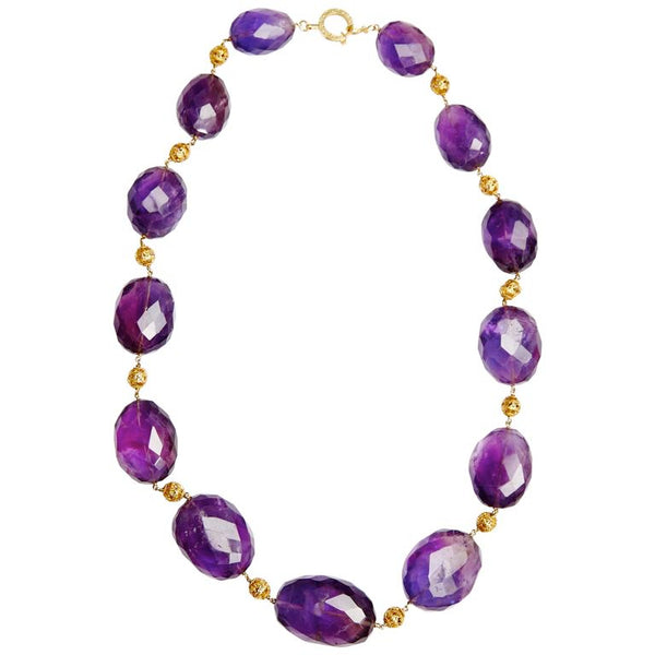 Retro Amethyst Beads Gold Necklace