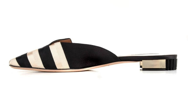 Giorgio Armani Shoe Black Gold Striped Slide Beautiful Heel 40 / 10 New