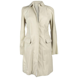 Giorgio Armani Coat Lambskin Leather Winter White 38 / 6 NWT