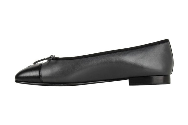 Chanel Shoe Ballerina Ballet Flat Gunmetal Grey / Black 39 / 9 New