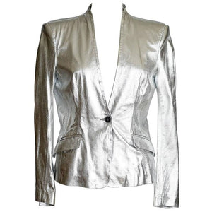 Pierre Balmain Jacket Ice Silver Leather Light Weight 42 / 8 nwt