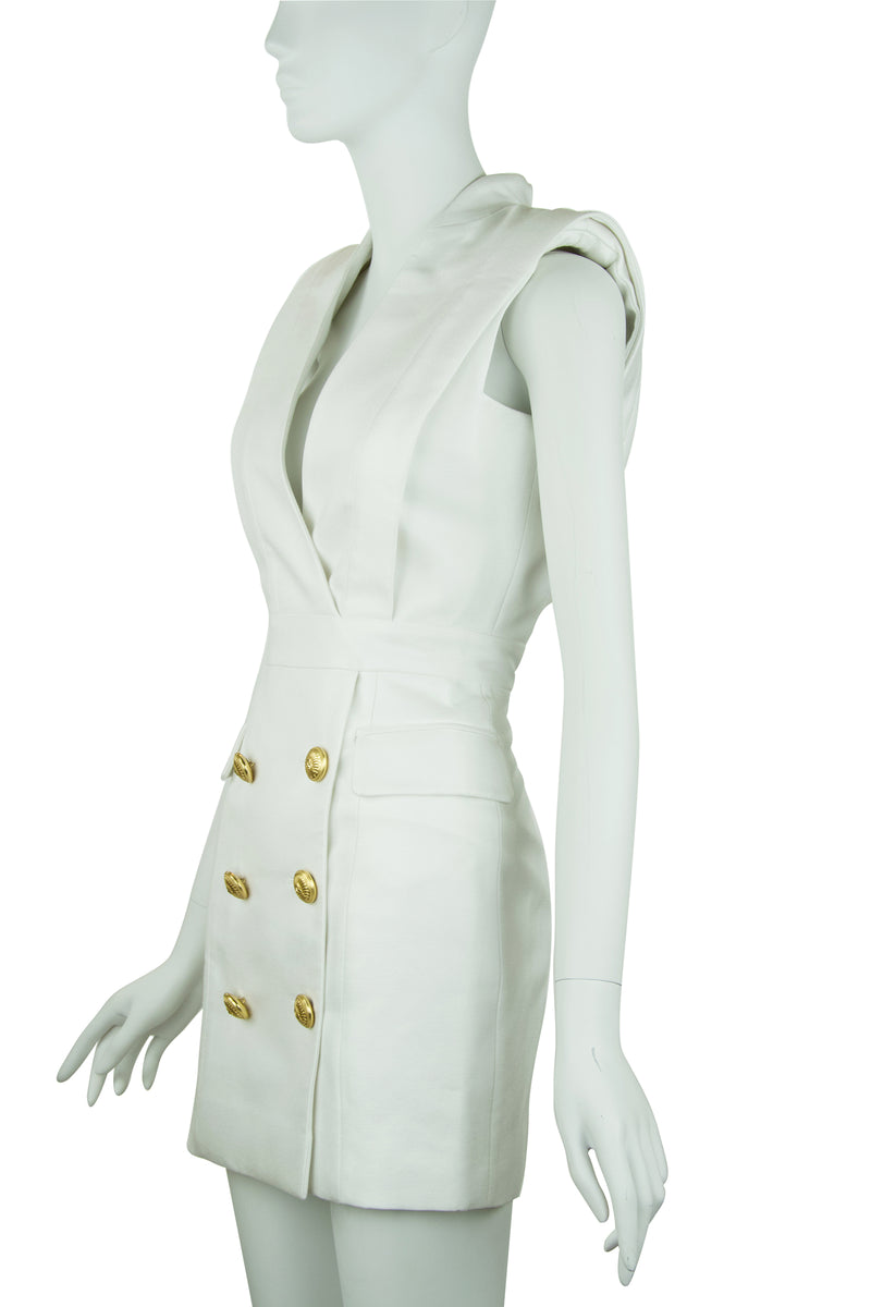 Balmain White Sleeveless Double Breasted Dress