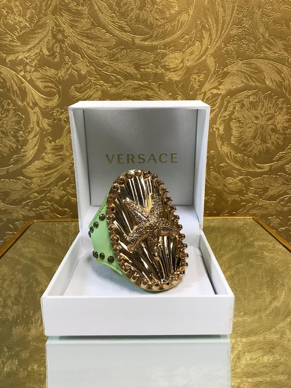 S/S 2012 Versace studded green leather cuff bracelet with starfish