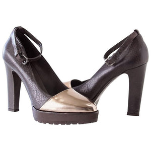Brunello Cucinelli Shoe Mirror Copper Toe Ankle Strap Pump