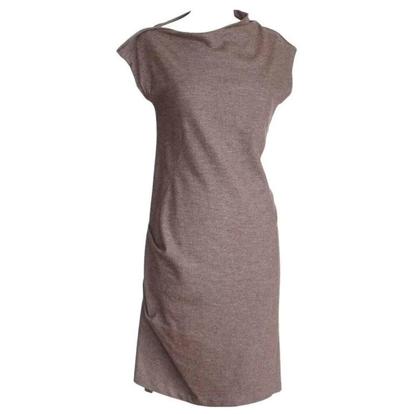Brunello Cucinelli Asymmetrical Heathered Mocha Brown Dress
