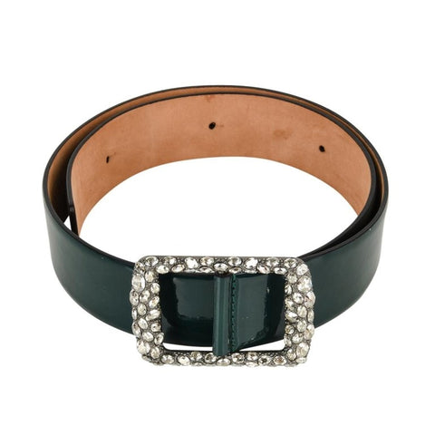 VALENTINO Belt Bottle Green Patent Diamante Buckle 80 / 32 NW