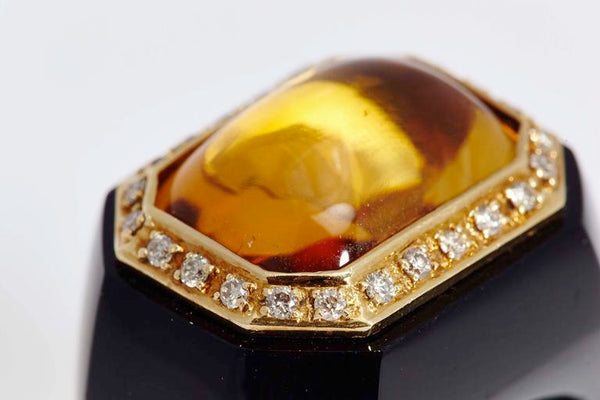 1980s Citrine Diamond Onyx Gold Ring