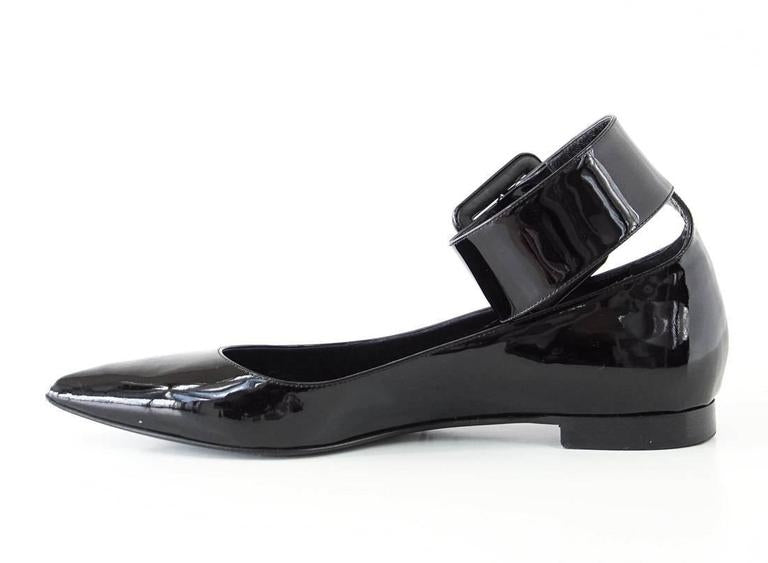 Saint Laurent Shoe Patent Ankle Strap Pointed Toe Ballet Flat 39 / 9