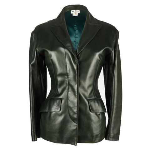 Azzedine Alaia Jacket Vintage Shaped Dark Bottle Green Leather 38