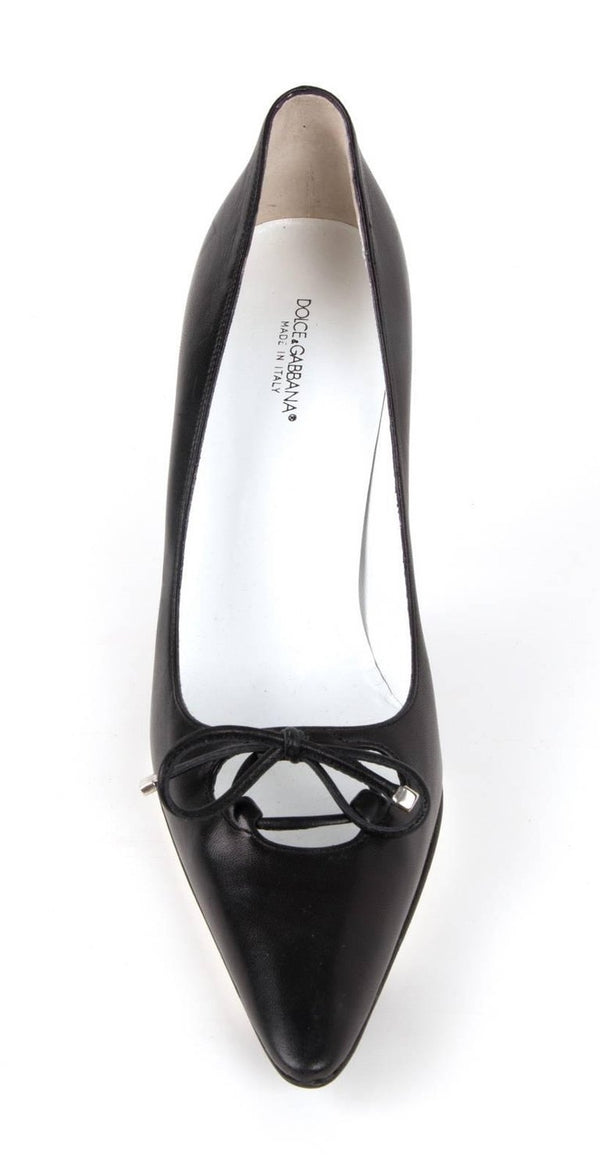 Dolce&Gabbana Shoe Black Leather Pump Laced Bow 39.5 / 9.5 New
