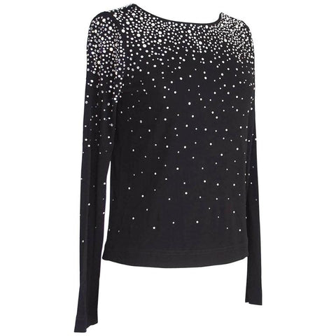Dolce&Gabbana Top Black Swarovski Diamantes and Pearls 42 / 8 Like New