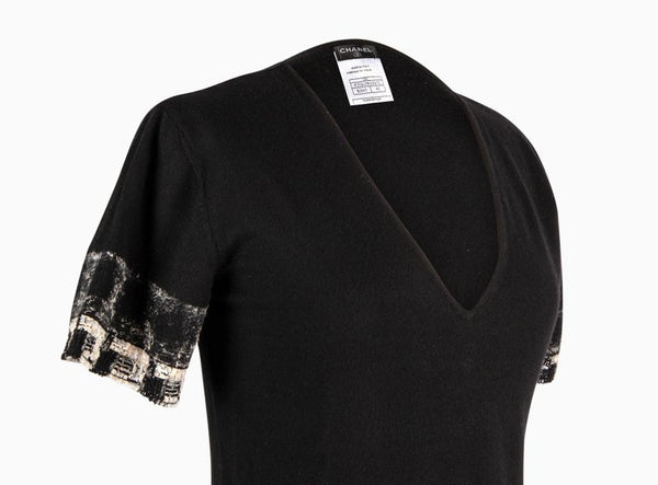 Chanel 05C Cashmere Top Fantasy Tweed Trim 42 / 8 Mint