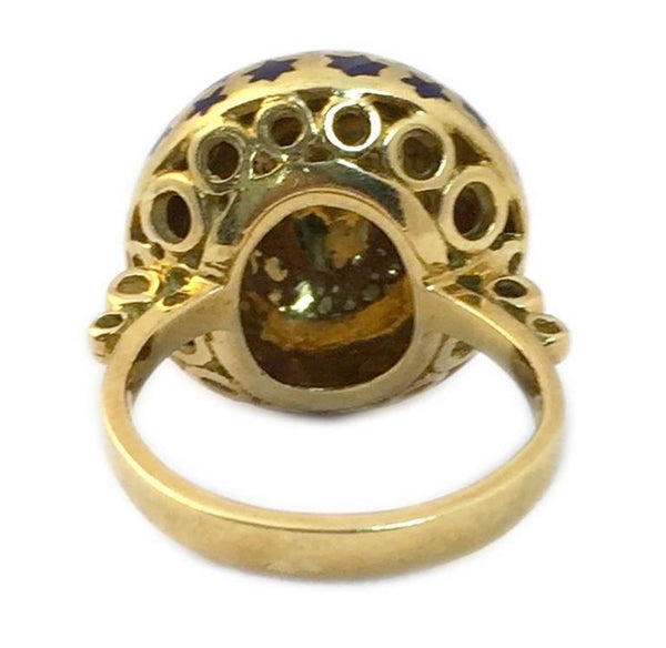 Chic Blue Enamel Gold dome Ring