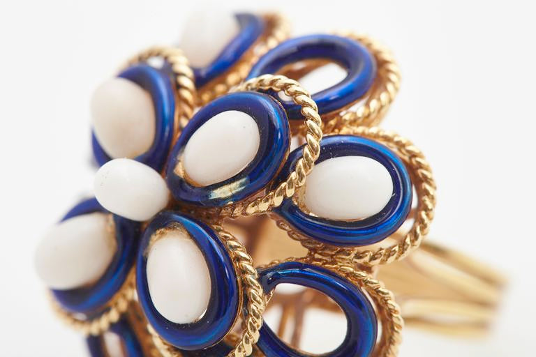Italian Blue Enamel and White Coral Ring