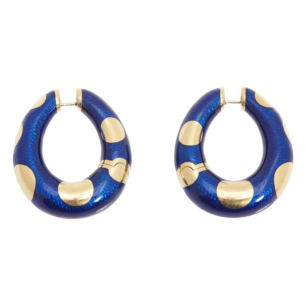Bulgari Blue Enamel and Gold Hoop Earrings