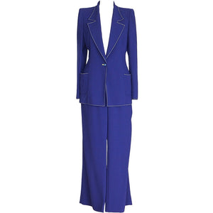 Emanuel Ungaro Vibrant Electric Blue Pant Suit Fabulous Buttons 12 fits 10
