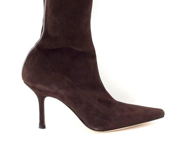 Manolo Blahnik Boot Stretch Suede Rear Leather Detail 39.5 / 9.5 New