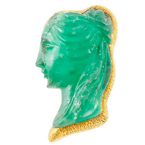 David Webb Emerald Cameo Brooch