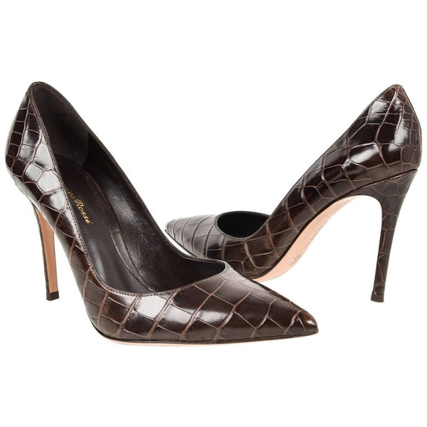 Gianvito Rossi Gianvito Shoe Alligator Pump Chocolate Brown 40 / 10 New