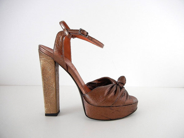 LANVIN Shoe Gold Bronze Laser Cut Textile Platform Open Toe 39 / 9