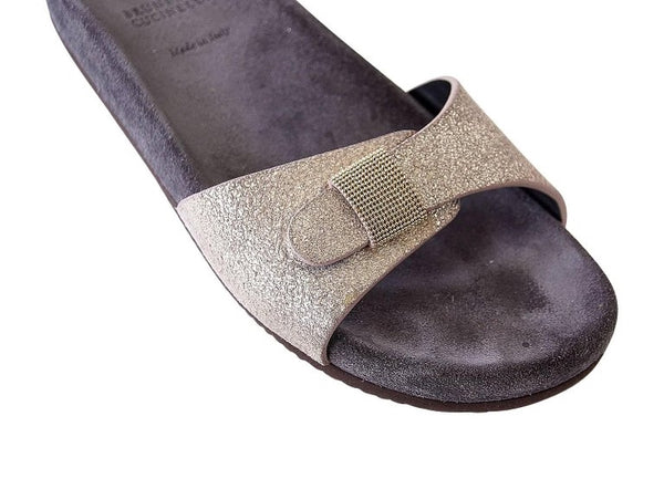 Brunello Cucinelli Shoe Soft Toned Gold Glitter Slide Sandal 37.5 / 7.5