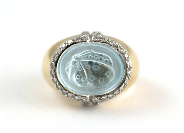 Butterfly Aquamarine Diamond Ring by Faraone