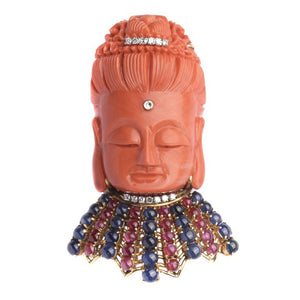 A Coral and Precious Stones Buddha Brooch/Pendant