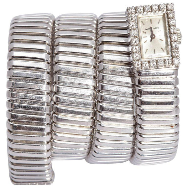Bulgari Ladies White Gold Diamond Tubogas Wristwatch