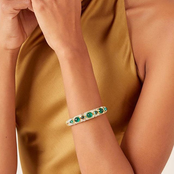 A Bulgari Emerald Diamond Bracelet