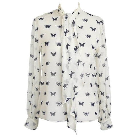 Alexander McQueen Top Semi Sheer Silk Butterfly Print Blouse 44 / 8