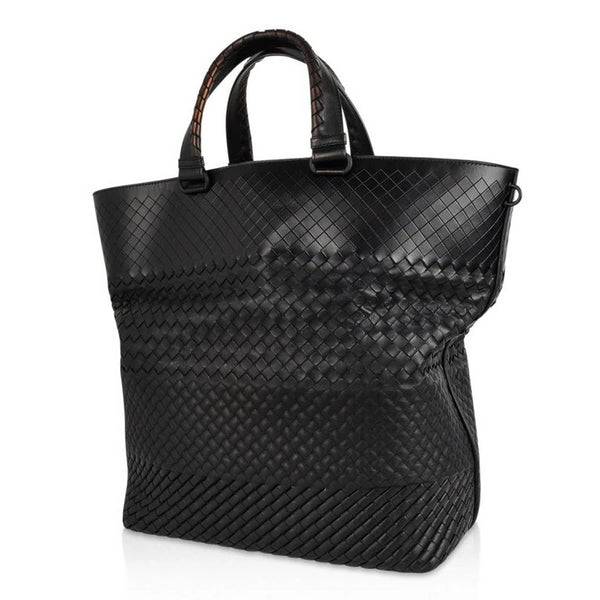 Bottega Veneta Intrecciato Imperatore Bag Varied Woven Pattern Black Tote
