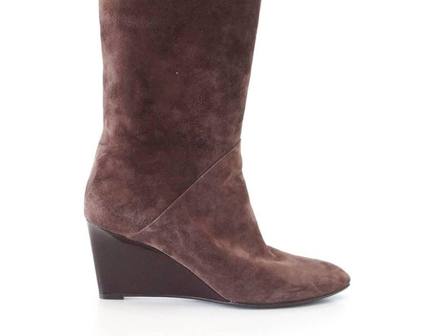Bottega Veneta Boot Suede Knee High Patent Wedge 39/ 9