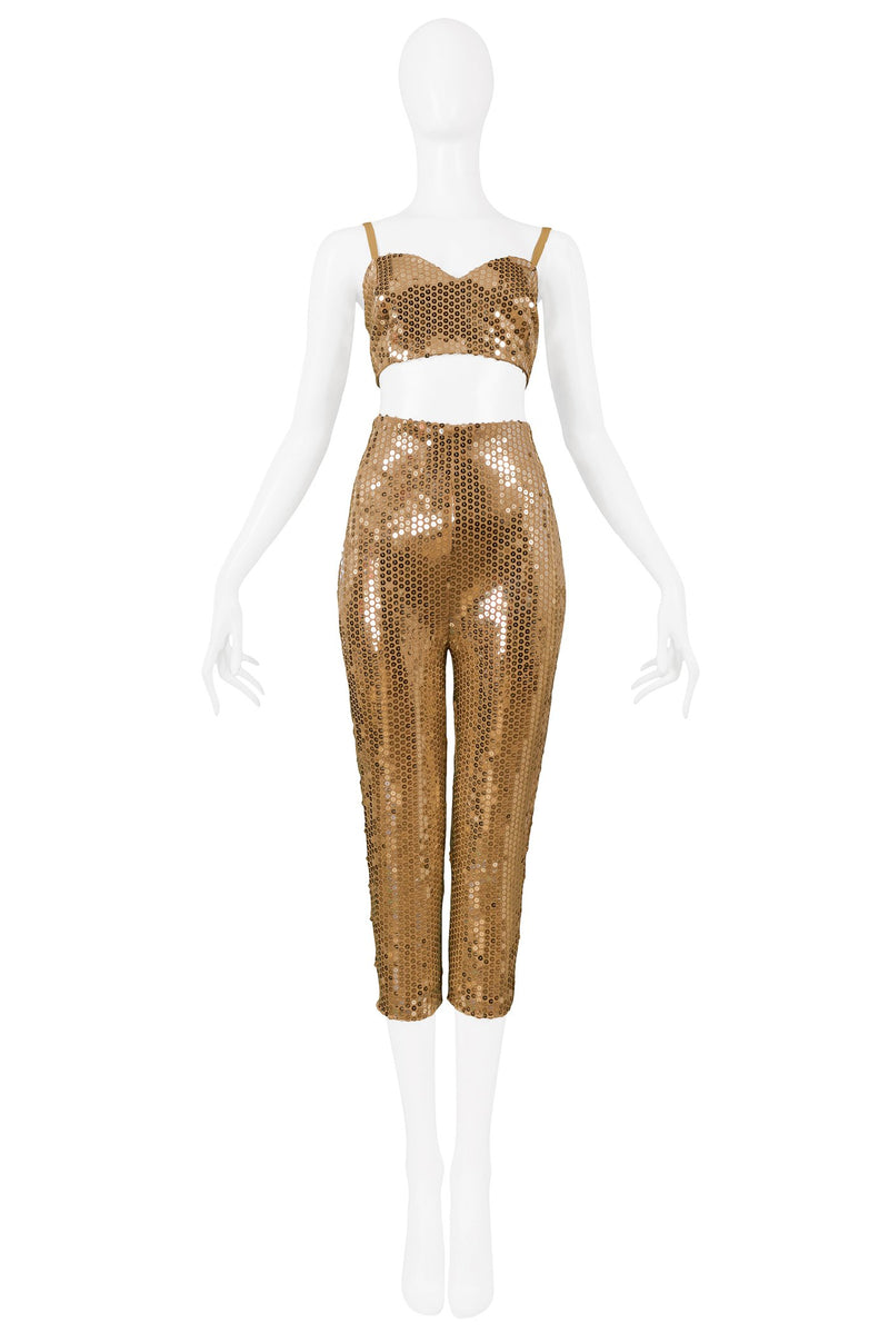 BYBLOS GOLD SEQUIN BRA TOP & CIGARETTE PANT ENSEMBLE 1991