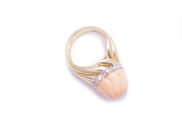 Italian Coral Diamond Gold Ring
