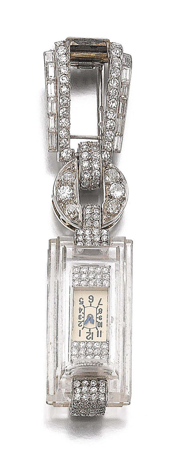 Cartier Art Deco Rock Crystal and Diamond Lapel Watch