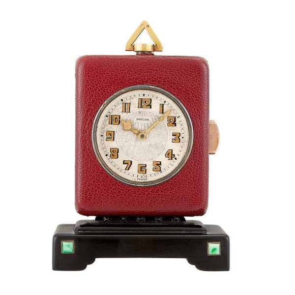 Miniature Red Leather Cartier Desk Clock in Gutta Percha and Jade