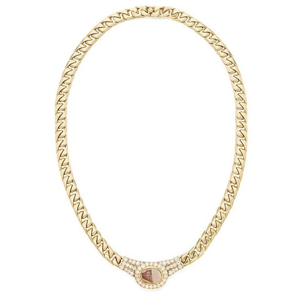 Bulgari Intaglio and Diamond Necklace